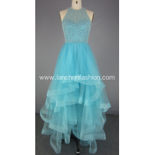 Light Blue Ruffle Prom Dress Evening Gown